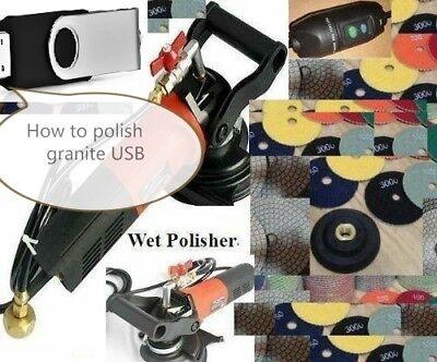 Wet Polisher Polishing 20 Pad Fabricate Granite Concrete Countertop Sink Usb Dvd