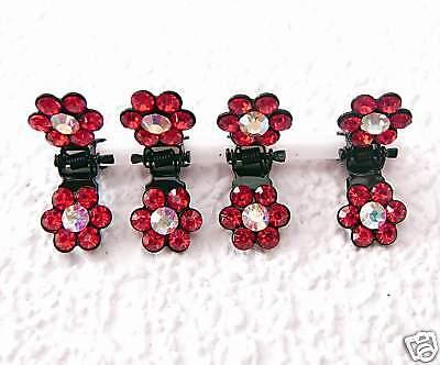 Swarovski Haar (Neu 4 HAARKLAMMERN SET mit SWAROVSKI STEINE in Light Siam/Rot HAARKLAMMER)