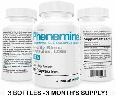 3 Phenemine Weight Losss Diet Pills For Women-Men Suppress Appetite Suppressant