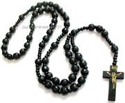 Mens Beaded Cross Necklace
