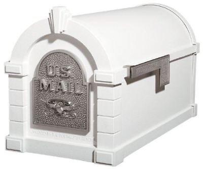 Gaines Original Series Keystone Mailbox In White And Satin Nickel Gaines Keystone Series Mailbox