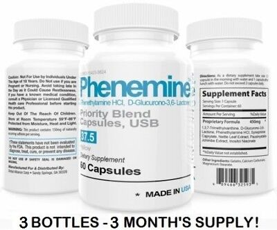 3 CT Phenemine Adipex 37.5 P Appetite Suppressant Slimming Best Diet Pills 375 P
