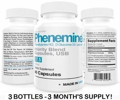 3 Phenemine Slimming Best 37.5 Diet Pills Appetite Suppressant Supplement 375 P
