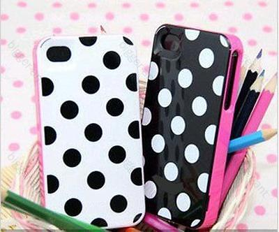 2PCS White Black Polka Dots 3 in1 Hard Back Cover Skin Case for iPhone 4G 4GS 4S on Rummage