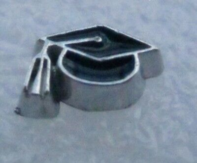 - Black Graduation Cap Enamel Silver 9mm Floating Charm for Memory Locket 1 piece