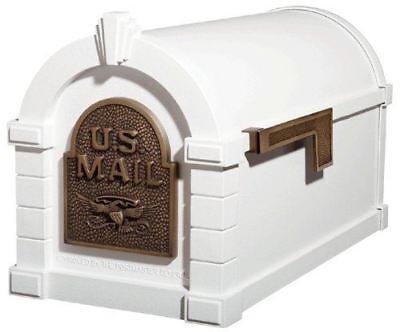 Gaines Original Series Keystone Mailbox In White And Antique Bronze Gaines Keystone Series Mailbox