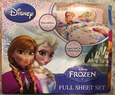 Disney Frozen FULL Bed Sheet Set - Elsa & Anna Princess Floral Breeze Microfiber