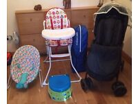Baby Bundle, Mamas and Papas Pramette, High Chair, Potty, Bouncer and Travel Cot.
