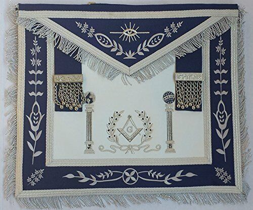 Masonic Navy Blue Apron Master Mason Square G & Pillars Freemasons Silver Fringe