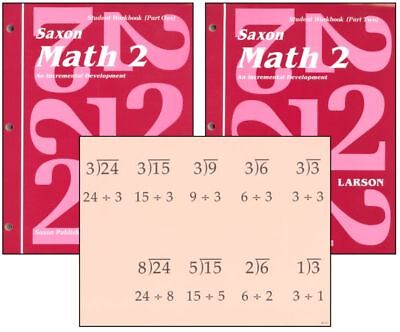 SAXON MATH 2 HOMESCHOOL STUDENT WORKBOOKS (Part 1 & 2) + FACT CARDS NEW!