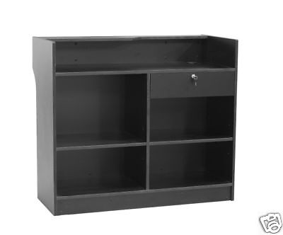 Register Black Stand Display Case Store Fixture Wood Knocked Down Ltc4bk-sc