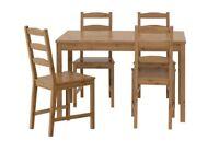 IKEA JOKKMOKK Table and 4 chairs Light Stain - like new
