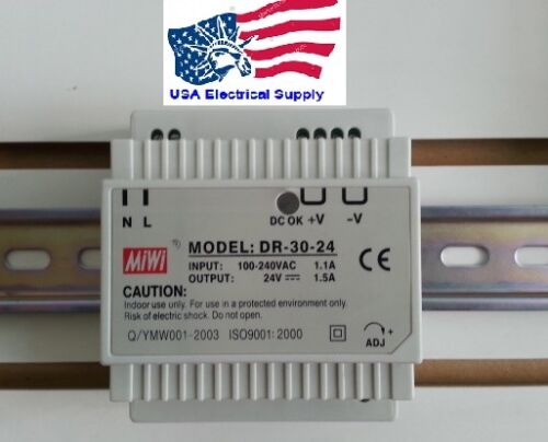 New Mean Well Replacement DR-30-24 AC to DC DIN-Rail Power Supply 24V 1.5A 36W