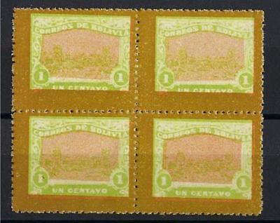 Bolivia 1914 Railroad stamp one centavo unissued block 4 MNH