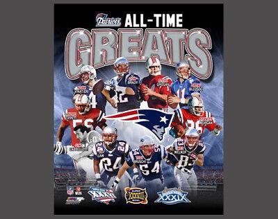 - New England Patriots ALL-TIME GREATS (c.2012) Premium POSTER -10 Legends, 3 SB's