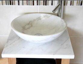 Oak and marble vanity unit