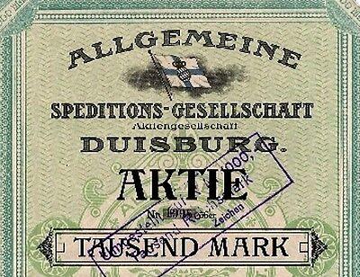 Allgemeine Speditions-Ges Duisburg Aktie 1918 + 1919 Rhenania Wincanton Marina