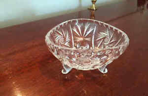 Two Crystal nut or candy bowls/dishes, European, vintage