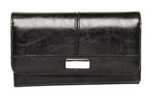 WOMENS LARGE ORGANISER BLACK FAUX LEATHER PURSE WITH SILVER PLAQUE