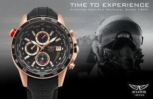 Aviator Pilot Rose Gold Watch Black Leather Strap Chronograph