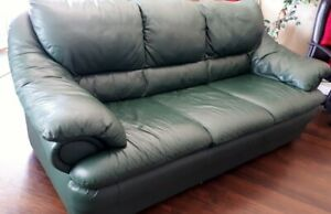 Palliser Light Green Leather Couch REDUCED