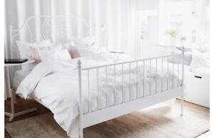 White metal bed frame and head board KING SIZE