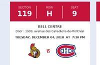 Canadiens vs Senators Tickets
