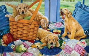 New 500 pc Sunsout jigsaw puzzle golden puppies dog basket