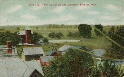Old Postcard - Bird's Eye View of School & Grounds - Spencer OH