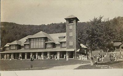 Old Real Photo Postcard   The Auditorium   Silver Bay Hotel   Lake George Ny