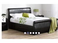 King size Faux Leather sleigh bed