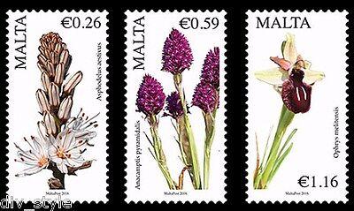 MALTESE FLORA FLOWERS SET OF 3 MNH STAMPS MALTA 2016 SERIES III