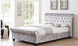 Crushed Velvet Sleigh Bed - new, boxed