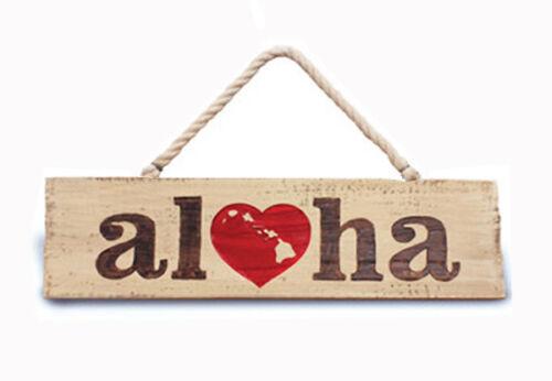 Hawaiian Wooden Wall Sign Heart Of Hawaii Aloha Island Home Tiki Bar Decor N