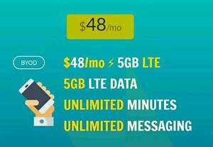 $48 plans unlimited talk/text 5GB+ LTE - plans4canada