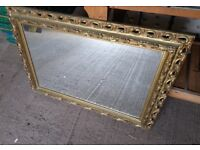 Ornate Mirror with gold coloured surround, ideal for living room, dining room, hallway, period type
