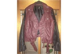 H&M Black & burgundy faux leather Biker Jacket Brand New RRP £65