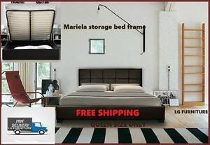 BEAUTIFULL BLACK LEATHER STORAGE BED FRAME IN QUEEN SIZE FOR SAL