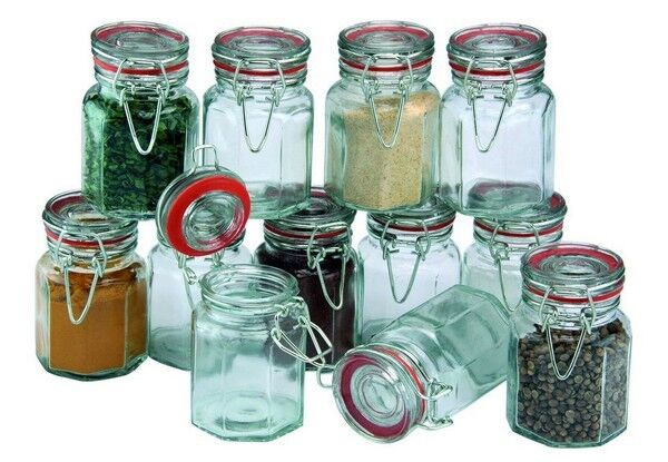 Apollo Clipseal Spice Jars Set of 12 Clear Glass Spices Herbs Jam Chutney NEW