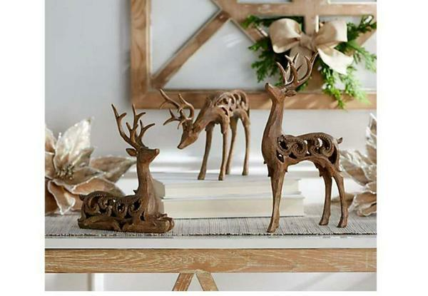 Carved Scroll Design Deer Figures by Valerie Natural -Set of 3