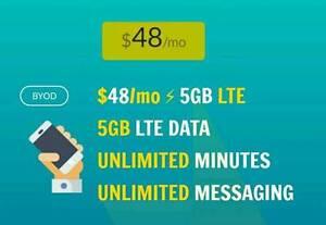 $48 plans unlimited talk/text 5GB+ LTE - plans4canada