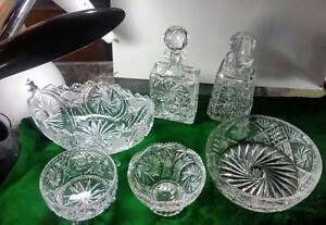 PINWHEEL CRYSTAL BOWLS & DECANTERS $40 +up each