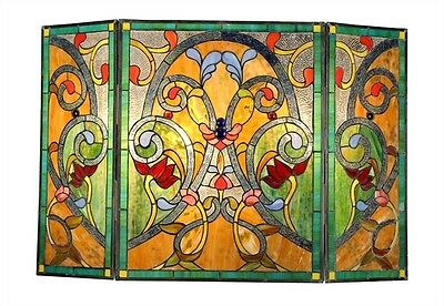 Tiffany Style Fireplace Screen Victorian Design Stained Glass 3 Section 28 X 44