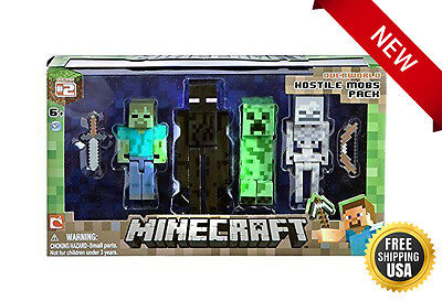 NEW Minecraft Figure Zombie Enderman (4 Pack) Hostile Mobs! Kids Toy Fun