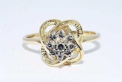 .19CT NATURAL ROUND WHITE DIAMOND FLOWER RING 14K YELLOW GOLD