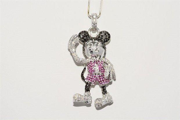$9,000 1.92ct Ruby, Black & White Diamond Mickey Mouse Pendant 14k White Gold
