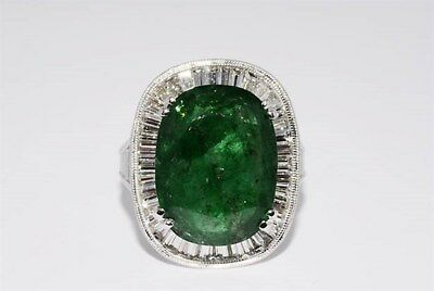 $21,960 10.31CT NATURAL AFRICAN EMERALD & DIAMOND COCKTAIL RING 18K WHITE GOLD