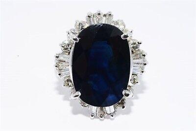 $15790 10.59CT LAPIS GEM CERTIFIED NATURAL BLUE SAPPHIRE & DIAMOND COCKTAIL RING Blue Sapphire Lapis Ring