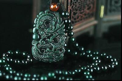 New Chinese Natural Green Hand-carved Hetian Jade Pendant -Free Necklace- Dragon