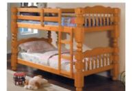 Solid wood bunk bed with mattresses